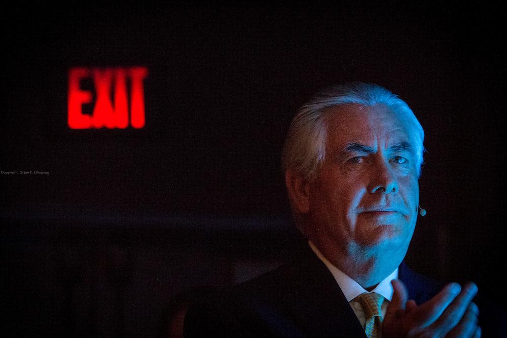 Houston, Texas, USA, 20150421: CEO i Exxon Mobil, Rex Tillerson, under årets CERAweek. Den 34. internasjonale energimessa CERA avholdes i Houston i dagene 20. - 24. april. Foto: Ørjan F: Ellingvåg