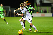 Swansea City's Adam King and Forest Green Rovers William Randall(19) scrap for the ball during the EFL Trophy match between Forest Green Rovers and U21 Swansea City at the New Lawn, Forest Green, United Kingdom on 31 October 2017. Photo by Shane Healey.