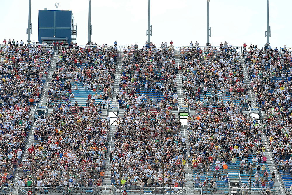 Joliet, IL - SEP 16, 2012: Fans in the stand during the Geico 400 at the Chicagoland Speedway in Joliet, IL.