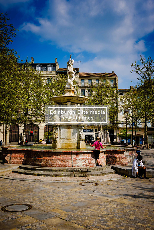 The fountain in the centre of the Place Carnot in Carcassonne, France<br /> <br /> (c) Andrew Wilson | Edinburgh Elite media