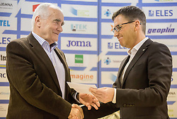 Martin Steiner and Roman Dobnikar, new president of AZS during press conference when Slovenian athletes and their coaches sign contracts with Athletic federation of Slovenia for year 2016, on February 25, 2016 in AZS, Ljubljana, Slovenia. Photo by Vid Ponikvar / Sportida