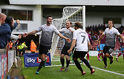 Andrew Hughes of Peterborough United celebrates scoring the opening goal of the game - Mandatory by-line: Joe Dent/JMP - 21/10/2017 - FOOTBALL - Glanford Park - Scunthorpe, England - Scunthorpe United v Peterborough United - Sky Bet League One