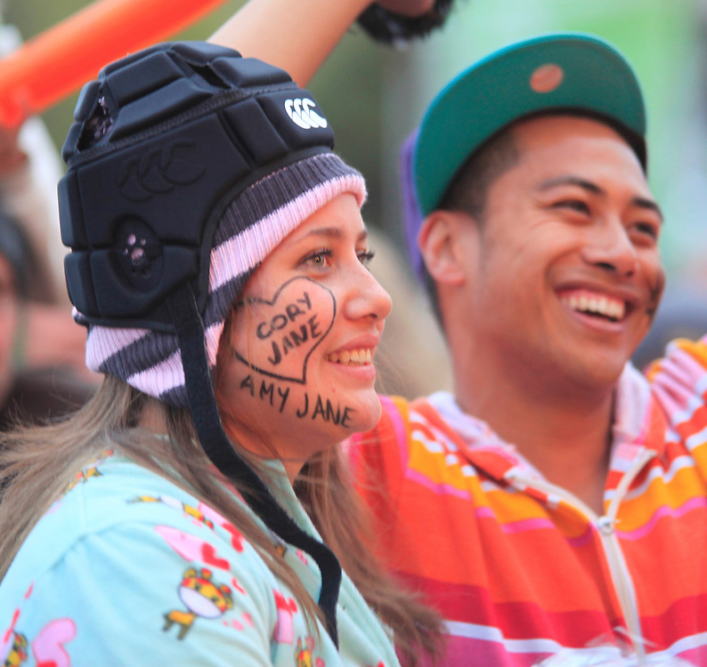 Supporters enjoying the atmosphere at Fanzone for the Rugby World Cup Final between New Zealand and France, Hagley Park, Christchurch, New Zealand, Sunday, October 23, 2011. Credit:SNPA / Pam Johnson