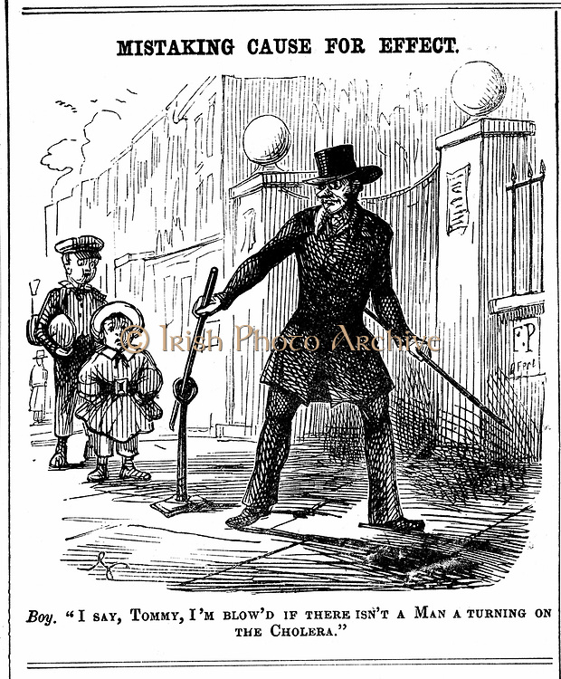 Mistaking Cause for Effect. Boy thinks the Water Board man is turning on cholera.  Cartoon from 'Punch' London, 1849