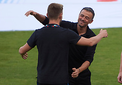 September 11, 2018 - Elche, U.S. - ELCHE, SPAIN - SEPTEMBER 11: Luis Enrique Martinez greets Ivan Rakitic of Croatia before the start of the UEFA Nations League A Group four match between Spain and Croatia on September 11, 2018, at Estadio Manuel Martinez Valero in Elche, Spain. (Photo by Carlos Sanchez Martinez/Icon Sportswire) (Credit Image: © Carlos Sanchez Martinez/Icon SMI via ZUMA Press)