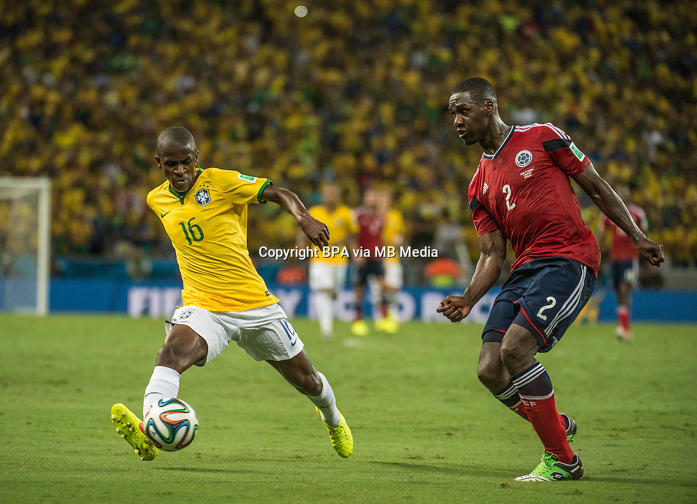 Ramires and Cristian Zapata. Brazil v Colombia, quarter-final. FIFA World Cup Brazil 2014. Castelao stadium, Fortaleza. 4 July 2014.