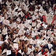 NLD/Amsterdam/20051018 - Champions League wedstrijd Ajax - FC Thun, publiek, toeschouwers, vlaggetjes