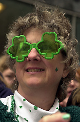A woman shows her Irish pride in the 241st Saint Patrick's Day Parade on March 16, 2002. New York Mayor Bill de Blasio announced that he will not be marching in the 2014 St. Patrick's Day Parade because of the parade organizers history of excluding groups, particularly the Irish LGBT community. He did allow city workers to march in their uniforms despite pressure from LGBT groups. (Frances M. Roberts). 17th March 1756 - St. Patrick's Day was celebrated in New York City for the first time. The event took place at the Crown and Thistle Tavern. EXPA Pictures © 2016, PhotoCredit: EXPA/ Photoshot/ FRANCES M. ROBERTS<br /> <br /> *****ATTENTION - for AUT, SLO, CRO, SRB, BIH, MAZ, SUI only*****