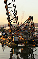 View of the Duwamish waterway and surrounding industrial area in Seattle, WA USA, early morning.