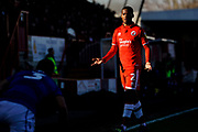 Lewis Young of Crawley Town questions a foul during the EFL Sky Bet League 2 match between Crawley Town and Macclesfield Town at The People's Pension Stadium, Crawley, England on 23 February 2019.