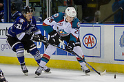 KELOWNA, CANADA - DECEMBER 30:  Nolan Foote #29 of the Kelowna Rockets and Carter Folk #21 of the Victoria Royals at the Kelowna Rockets game on December 30, 2016 at Prospera Place in Kelowna, British Columbia, Canada.  (Photo By Cindy Rogers/Nyasa Photography,  *** Local Caption ***