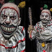 Cosplay attendee in his Twisty the Clown costume from American Horror Story.<br />