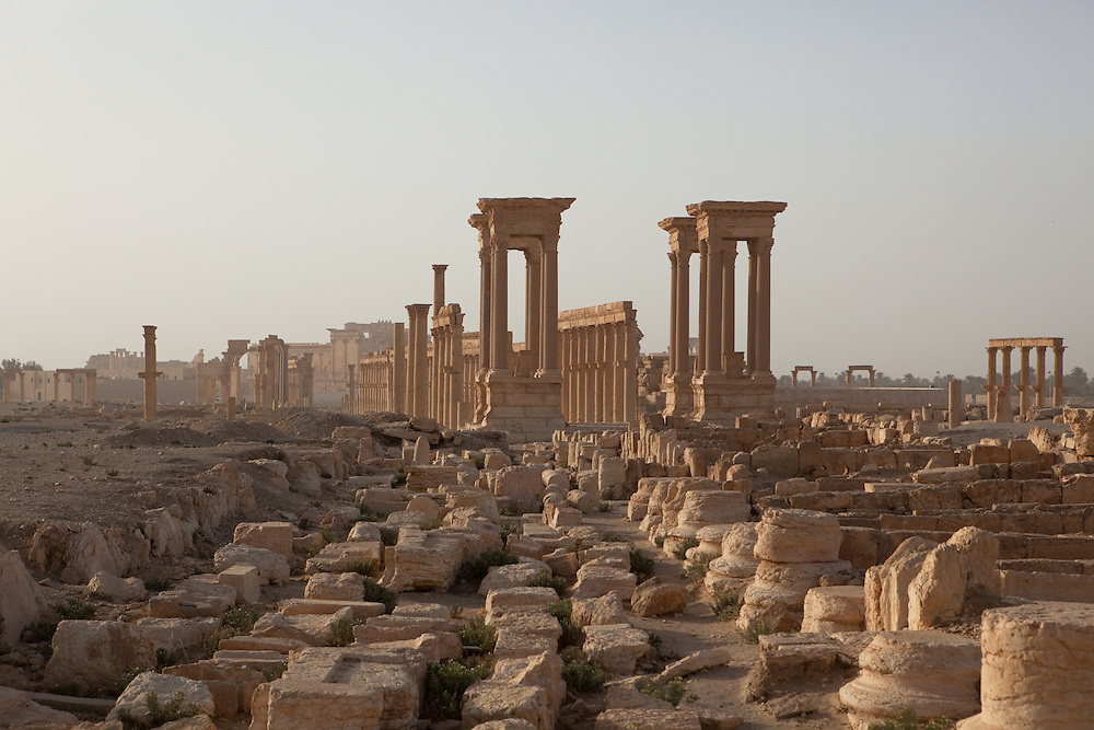 Tetrapylon and remnants of Roman columns at Palmyra, Syria