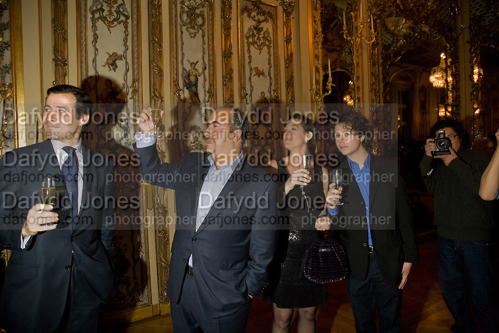 Herve Martin; Russell Sternlicht; Mrs. Russell Sternlicht; Max Sternlicht<br />  Drinks the evening before the The 2008 Crillon Debutante Ball. Baccarat. Place des Etats-Unis.  Paris. 29 November 2008. *** Local Caption *** -DO NOT ARCHIVE-&copy; Copyright Photograph by Dafydd Jones. 248 Clapham Rd. London SW9 0PZ. Tel 0207 820 0771. www.dafjones.com.