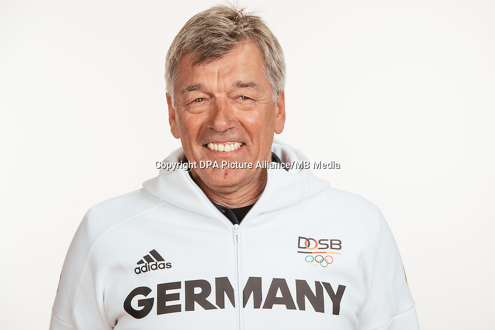 Dieter Kröhnert poses at a photocall during the preparations for the Olympic Games in Rio at the Emmich Cambrai Barracks in Hanover, Germany, taken on 18/07/16 | usage worldwide
