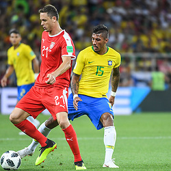 Nemanja Matic of Serbia and Paulinho of Brazil during the FIFA World Cup Group E match between Serbia and Brazil on June 27, 2018 in Moscow, Russia. (Photo by Anthony Dibon/Icon Sport)