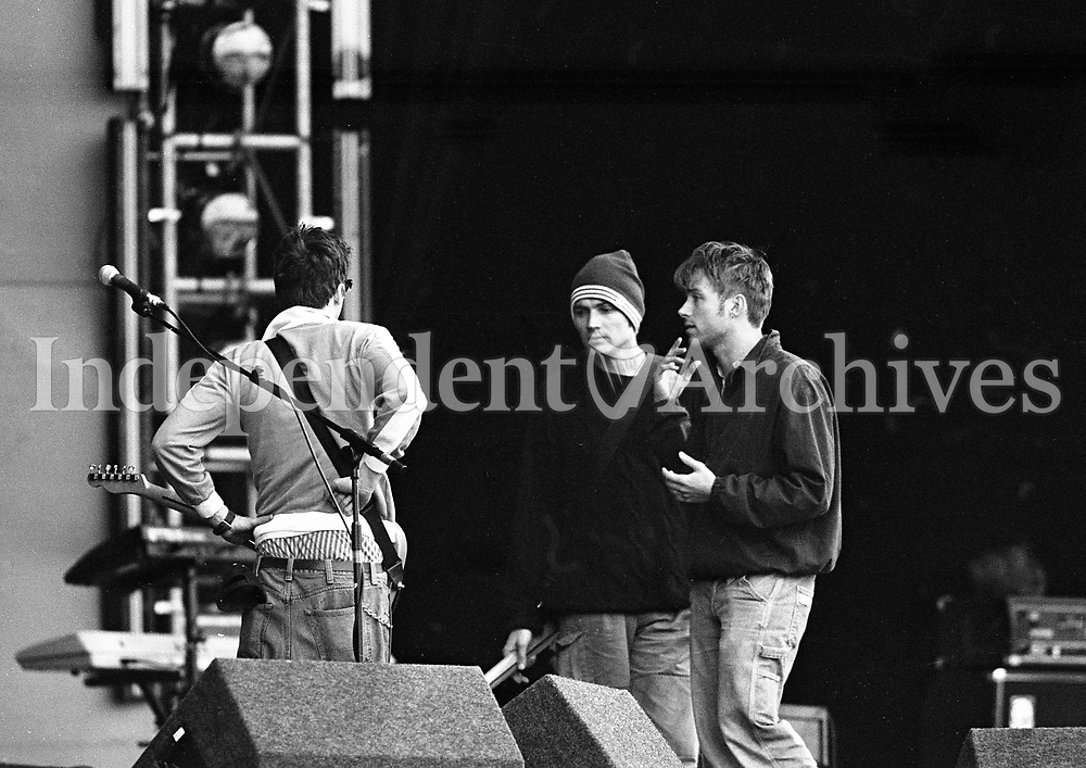 Blur rehearsing in the RDS, Dublin ahead of the Concert (L-R) Graham Cox, Alex James and Damon Albarn, 21/06/1996 (Part of the Independent Newspapers Ireland/NLI Collection).