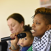 London,UK, 25th January 2015 : Co-founder #Black Lives Matter Patrise Cullors from LA a #FergusonToTottenham visited the North London Community House, where Mark Duggan kills in the hands by police discussed the legacy of black deaths at the hands of the police. Photo by See Li
