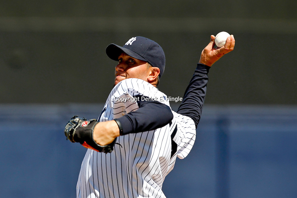March 4, 2012; Tampa Bay, FL, USA; New York Yankees starting pitcher Freddy Garcia (36) against the Philadelphia Phillies during spring training game at George M. Steinbrenner Field. Mandatory Credit: Derick E. Hingle-US PRESSWIRE