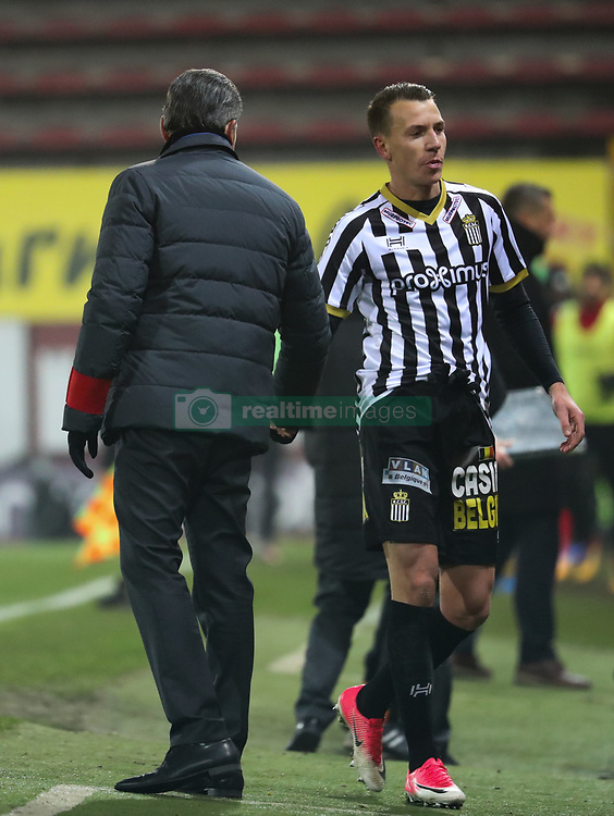 December 1, 2017 - Charleroi, BELGIUM - Charleroi's head coach Felice Mazzu and Charleroi's Clement Tainmont pictured during the Jupiler Pro League match between Sporting Charleroi and KV Oostende, in Charleroi, Friday 01 December 2017, on the day 17 of the Jupiler Pro League, the Belgian soccer championship season 2017-2018. BELGA PHOTO VIRGINIE LEFOUR (Credit Image: © Virginie Lefour/Belga via ZUMA Press)