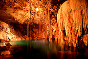 MEXICO, LANDSCAPE, YUCATAN Cenote Dzitnup near Valladolid