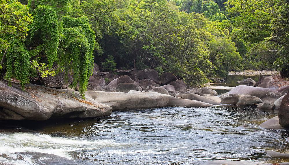 View of the granite riverbed and surrounding rainforest of Babinda Creek, Queensland, Australia