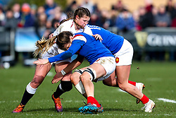 Jess Breach of England Women i tackled - Mandatory by-line: Robbie Stephenson/JMP - 10/02/2019 - RUGBY - Castle Park - Doncaster, England - England Women v France Women - Women's Six Nations