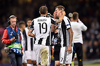 Leonardo Bonucci of Juventus consoles a dejected Mario Mandzukic of Juventus during the UEFA Champions League Final match between Real Madrid and Juventus at the National Stadium of Wales, Cardiff, Wales on 3 June 2017. Photo by Giuseppe Maffia.<br /> <br /> Giuseppe Maffia/UK Sports Pics Ltd/Alterphotos