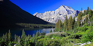 Lake Josephine and Rocky Mountains in Glacier National Park Panorama