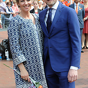 Koningsdag 2014 in Amstelveen, het vieren van de verjaardag van de koning. / Kingsday 2014 in Amstelveen, celebrating the birthday of the King. <br /> <br /> <br /> Op de foto / On the photo:  Prins Bernhard jr. en prinses Annette / Prince Bernhard and Princess Annette