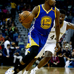 Dec 13, 2016; New Orleans, LA, USA;  Golden State Warriors forward Kevin Durant (35) drives past New Orleans Pelicans forward Solomon Hill (44) during the first quarter of a game at the Smoothie King Center. Mandatory Credit: Derick E. Hingle-USA TODAY Sports