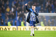 Aaron Connolly (Brighton) thumbs up the Brighton & Hove Albion FC supporters in the North Stand following the Premier League match between Brighton and Hove Albion and Everton at the American Express Community Stadium, Brighton and Hove, England on 26 October 2019.