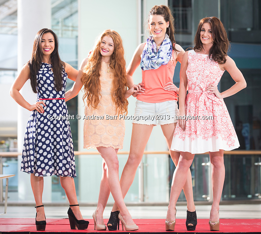 15:03:2013 ..Miss Scotland Fashion Event in St. Enoch centre...Former finalists in Miss Scotland come together to model on the catwalk at the fashion event...L_R Ettanya Teo  Layla Ferguson, Sara McLean, Deonne Robertson ..   . Pic:Andy Barr..07974 923919  (mobile).andy_snap@mac.com..All pictures copyright Andrew Barr Photography. ..Please contact before any syndication. .