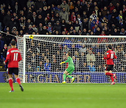 Man Utd Goalkeeper David De Gea (ESP) watches as Cardiff City Forward, Fraizer Campbell's effort hits the bar (ENG) - Photo mandatory by-line: Joseph Meredith/JMP - Tel: Mobile: 07966 386802 - 24/11/2013 - SPORT - FOOTBALL - Cardiff City Stadium - Cardiff City v Manchester United - Barclays Premier League.