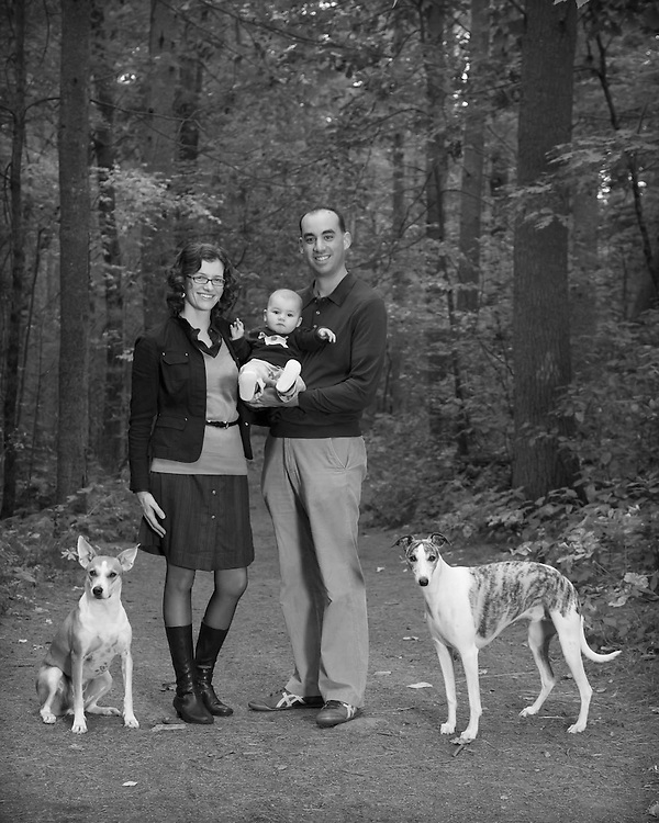 Family photo with whippet and mixed breed in Carlisle, MA in Black and photo.