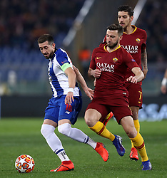 February 12, 2019 - Rome, Italy - Hector Herrera of Porto and Bryan Cristante during the UEFA Champions League round of 16, first leg football match AS Roma and FC Porto on February 12, 2019 at the Olympic stadium in Rome, Italy. (Credit Image: © Matteo Ciambelli/NurPhoto via ZUMA Press)