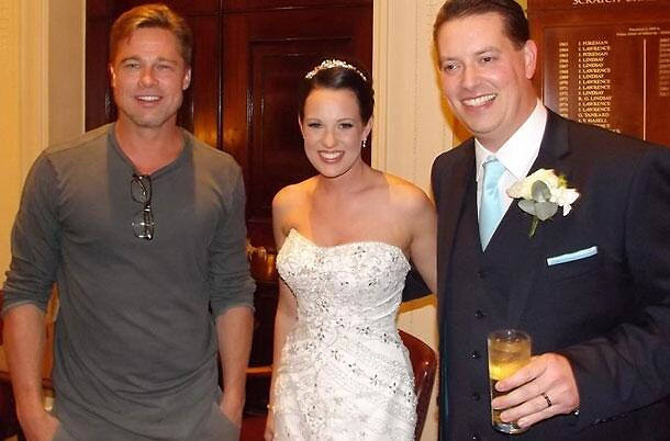 Here comes the bride and groom (and Brad Pitt!) Hollywood star crashes couple's wedding as they hold reception in his hotel<br /> <br /> it's undoubtedly the happiest day of a woman's life. <br /> But bride Abi Lingwood's wedding day was made even more special over the weekend, when she discovered Brad Pitt was staying in the same hotel that she and her new husband were holding their wedding reception in. <br /> Brad - who is shooting new World War II blockbuster Fury at the nearby Pinewood Studios - was spotted enjoying a drink at the bar of the Maidenhead hotel by eagle-eyed groom Daniel. <br /> And it wasn't long until Daniel had persuaded Brad, 49, to come and meet his new wife, and pose up for a quick snap. <br /> Abi told local newspaper the Maidenhead Advertiser: 'My husband said to me Brad Pitt was at the bar and you have got to come with me so he dragged me across the hotel. I thought he was joking.'<br /> The suave star, who is in the midst of planning his own wedding to fiancée Angelina Jolie, obliged the bride's request for photos and complimented her wedding gown.<br /> She added: 'He said congratulations and I hope you have had a great day and let's have a picture. And he said I looked nice. He was really nice.'<br /> <br /> Awestruck Abi admits the A-lister's presence caused a stir among her wedding party, who deluged him with requests for pictures, and claims Brad unwittingly upstaged her nuptials.<br /> She said: 'The girls were going wild and mental so Brad Pitt and the people he was with went upstairs to a room for their meeting.<br /> 'It has become more of a talking point than my wedding, but that is fine.'<br /> In the shots, Brad was seen with his newly-shorn hair, which has had cut for Fury.<br /> The heartthrob is playing the role of a soldier who is part of a five-man crew of a tank named Fury during the final weeks of World War II. <br /> Written by director David Ayer, the film sees the crew take on a desperate German division facing an a