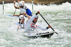 30.06.2013, Eiskanal, Augsburg, GER, ICF Kanuslalom Weltcup, Finale Kanu-Zweier Teams, Maenner. im Bild Nicolas PESCHIER (vorne) und Pierre LABARELLE (hinten) aus Frankreich, Finale, Team, Kanu, Canoe, C2, Teams, Herren, Frankreich // during the final of canoe double of the men kayak team of ICF Canoe Slalom World Cup at the ice track, Augsburg, Germany on 2013/06/30. EXPA Pictures © 2013, PhotoCredit: EXPA/ Eibner/ Matthias Merz<br /> <br /> ***** ATTENTION - OUT OF GER *****