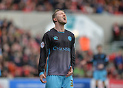 Disappointment for Sheffield Wednesday midfielder Aiden McGeady (37) after his shot is saved during the Sky Bet Championship match between Bristol City and Sheffield Wednesday at Ashton Gate, Bristol, England on 9 April 2016. Photo by Adam Rivers.