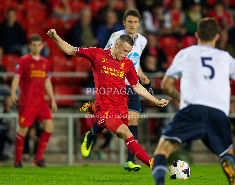 ST HELENS, ENGLAND - Monday, October 7, 2013: Liverpool's Brad Smith scores the fourth goal against Tottenham Hotspur during the Under 21 FA Premier League match at Langtree Park. (Pic by David Rawcliffe/Propaganda)