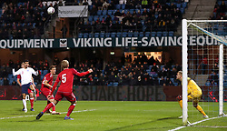 England U21's Dominic Solanke scores his side's second goal of the game during the international friendly match at the Blue Water Arena, Esbjerg.