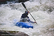 Kayaker in rapids, Middle Prong of Little River, Great Smoky Mountains National Park, Tennessee