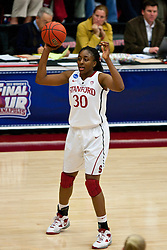 March 21, 2011; Stanford, CA, USA; Stanford Cardinal forward Nnemkadi Ogwumike (30) holds the ball against the St. John's Red Storm during the first half of the second round of the 2011 NCAA women's basketball tournament at Maples Pavilion. Stanford defeated St. John's 75-49.