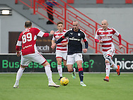 Dundee&rsquo;s James Vincent runs at Hamilton&rsquo;s Giorgos Sarris - Hamilton v Dundee in the Ladbrokes Scottish Premiership at Superseal stadium, Hamilton. Photo: David Young<br /> <br />  - &copy; David Young - www.davidyoungphoto.co.uk - email: davidyoungphoto@gmail.com