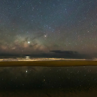 Rising Milky Way reflects in a pool of salt water on the Cape Hatteras beach.