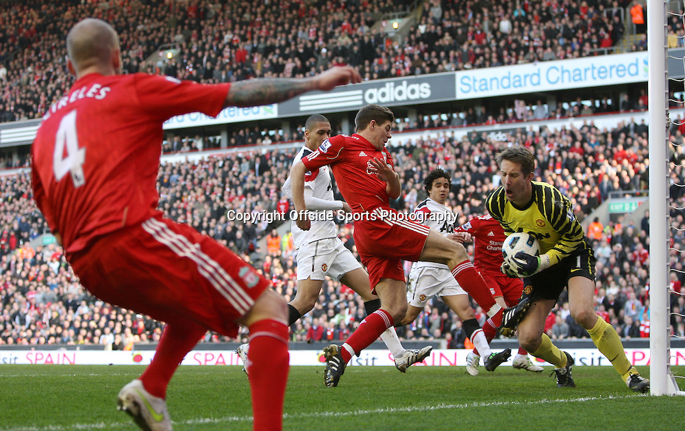 06/03/2011 - Barclays Premier League - Liverpool vs. Manchester United - Man Utd goalkeeper Edwin van der Sar saves from Steven Gerrard of Liverpool - Photo: Simon Stacpoole / Offside.