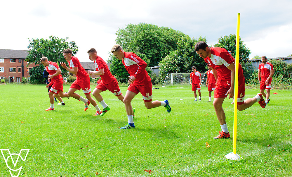 Lincoln City players, from left, Jack Muldoon, Callum Howe, Andrew Wright, Keegan Everington and Lee Beevers during training<br /> <br /> Lincoln City players have reported back for pre-season training ahead of their upcoming 2016/17 National League campaign.  <br /> <br /> Picture: Chris Vaughan/Chris Vaughan Photography<br /> Date: June 27, 2016