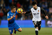 Valencia's Spanish midfielder Carlos Soler vies for the ball during the Spanish Championship Liga football match between Getafe CF and Valencia CF on December 3, 2017 at the Coliseum Alfonso Perez in Getafe near Madrid, Spain - Photo Benjamin Cremel / ProSportsImages / DPPI