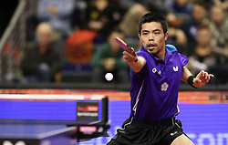 31.01.2016, Max Schmeling Halle, Berlin, GER, German Open 2016, im Bild Chih-Yuan Chuang (TPE) bei der Ballannahme // during the table Tennis 2016 German Open at the Max Schmeling Halle in Berlin, Germany on 2016/01/31. EXPA Pictures © 2016, PhotoCredit: EXPA/ Eibner-Pressefoto/ Wuest<br /> <br /> *****ATTENTION - OUT of GER*****