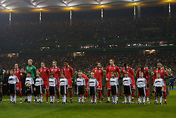 FRANKFURT, GERMANY - Wednesday, November 21, 2007: Wales players line-up before the final UEFA Euro 2008 Qualifying Group D match against Germany at the Commerzbank Arena. (Pic by David Rawcliffe/Propaganda)